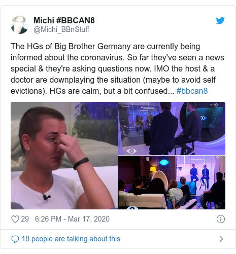 Twitter post by @Michi_BBnStuff: The HGs of Big Brother Germany are currently being informed about the coronavirus. So far they've seen a news special & they're asking questions now. IMO the host & a doctor are downplaying the situation (maybe to avoid self evictions). HGs are calm, but a bit confused... #bbcan8