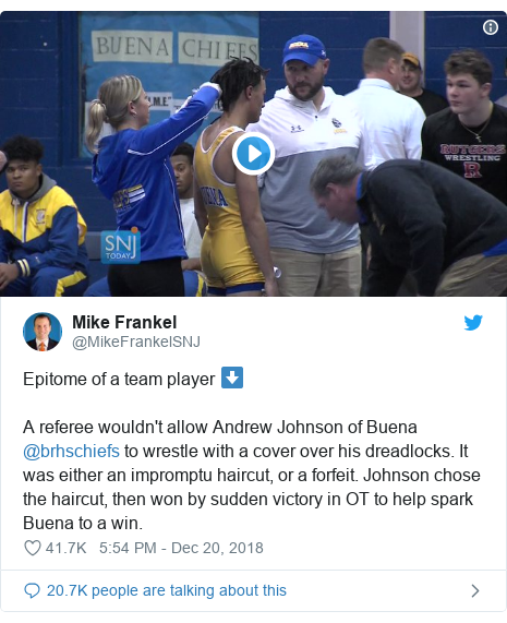 Twitter post by @MikeFrankelSNJ: Epitome of a team player ⬇️A referee wouldn't allow Andrew Johnson of Buena @brhschiefs to wrestle with a cover over his dreadlocks. It was either an impromptu haircut, or a forfeit. Johnson chose the haircut, then won by sudden victory in OT to help spark Buena to a win.