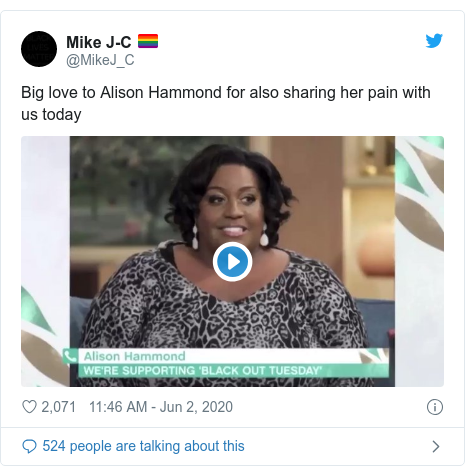 Twitter post by @MikeJ_C: Big love to Alison Hammond for also sharing her pain with us today