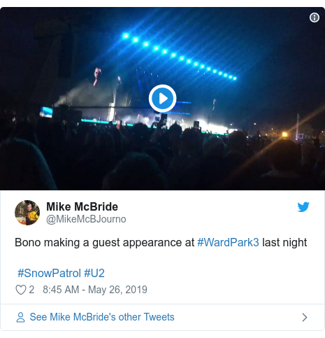 Twitter post by @MikeMcBJourno: Bono making a guest appearance at #WardPark3 last night #SnowPatrol #U2