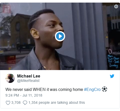 Twitter post by @MikeRealist: We never said WHEN it was coming home #EngCro ⚽️