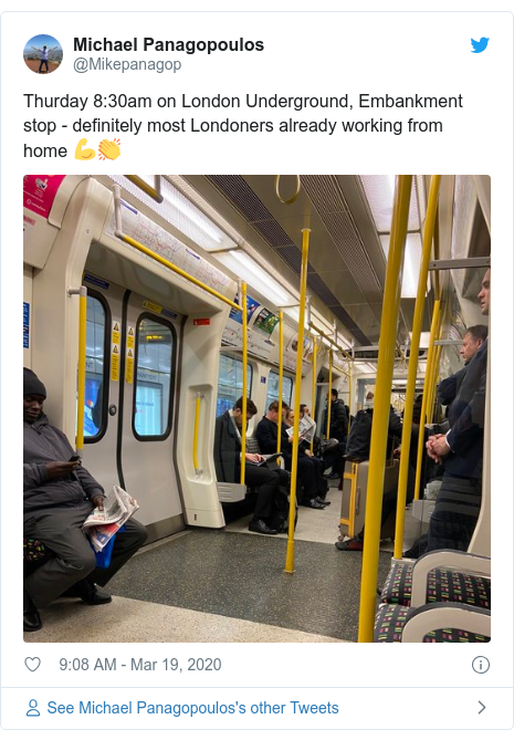 Twitter post by @Mikepanagop: Thurday 8 30am on London Underground, Embankment stop - definitely most Londoners already working from home 💪👏