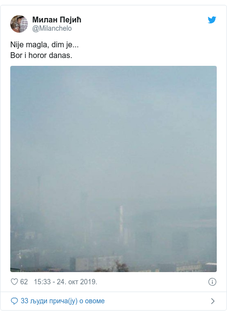 Twitter post by @Milanchelo: Nije magla, dim je...Bor i horor danas.