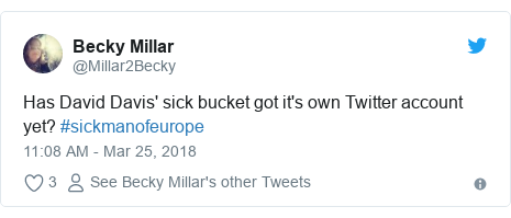 Twitter post by @Millar2Becky: Has David Davis' sick bucket got it's own Twitter account yet? #sickmanofeurope