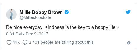 Twitter post by @Milliestopshate: Be nice everyday. Kindness is the key to a happy life ♡