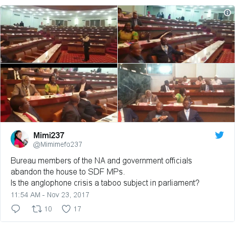 Twitter post by @Mimimefo237: Bureau members of the NA and government officials abandon the house to SDF MPs. Is the anglophone crisis a taboo subject in parliament?
