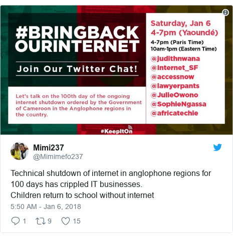 Twitter post by @Mimimefo237: Technical shutdown of internet in anglophone regions for 100 days has crippled IT businesses. Children return to school without internet