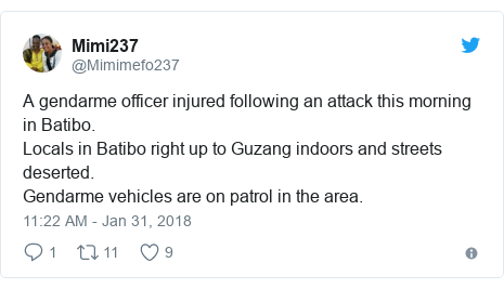 Twitter post by @Mimimefo237: A gendarme officer injured following an attack this morning in Batibo.Locals in Batibo right up to Guzang indoors and streets deserted. Gendarme vehicles are on patrol in the area.