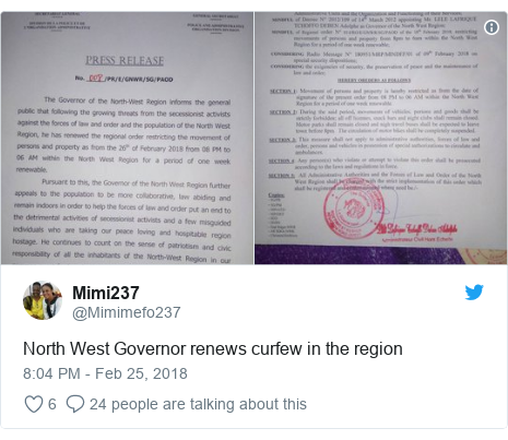 Twitter post by @Mimimefo237: North West Governor renews curfew in the region