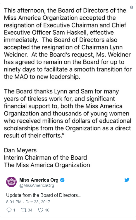 Twitter post by @MissAmericaOrg: Update from the Board of Directors...