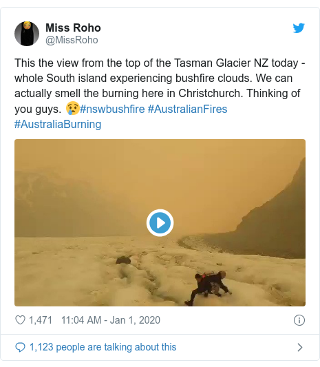 Twitter post by @MissRoho: This the view from the top of the Tasman Glacier NZ today - whole South island experiencing bushfire clouds. We can actually smell the burning here in Christchurch. Thinking of you guys. 😢#nswbushfire #AustralianFires #AustraliaBurning