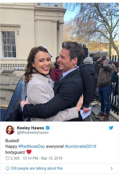 Twitter post by @Misskeeleyhawes: Busted! Happy #RedNoseDay everyone! #comicrelief2019 bodyguard ❤️