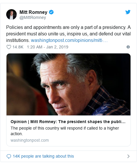 Twitter post by @MittRomney: Policies and appointments are only a part of a presidency. A president must also unite us, inspire us, and defend our vital institutions.