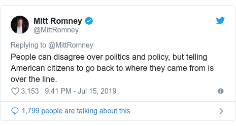 Twitter post by @MittRomney: People can disagree over politics and policy, but telling American citizens to go back to where they came from is over the line.