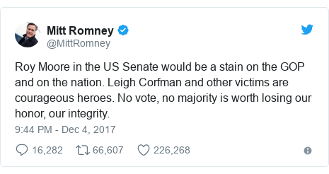 Twitter post by @MittRomney: Roy Moore in the US Senate would be a stain on the GOP and on the nation. Leigh Corfman and other victims are courageous heroes. No vote, no majority is worth losing our honor, our integrity.