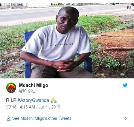 Ujumbe wa Twitter wa @Mligo_: R.I.P #AzoryGwanda 🙏