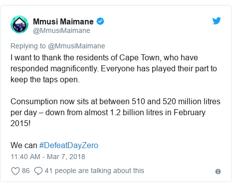 Twitter post by @MmusiMaimane: I want to thank the residents of Cape Town, who have responded magnificently. Everyone has played their part to keep the taps open.Consumption now sits at between 510 and 520 million litres per day – down from almost 1.2 billion litres in February 2015!We can #DefeatDayZero