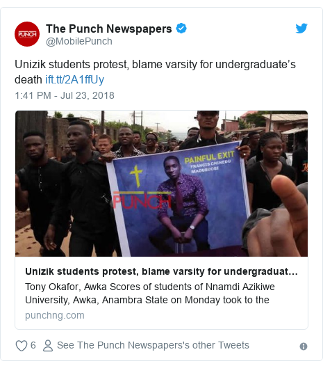 Twitter post by @MobilePunch: Unizik students protest, blame varsity for undergraduate's death