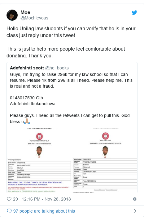Twitter post by @Mochievous: Hello Unilag law students if you can verify that he is in your class just reply under this tweet. This is just to help more people feel comfortable about donating. Thank you.