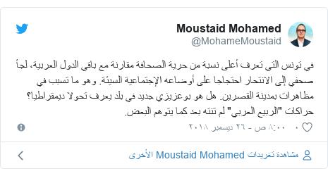 """تويتر رسالة بعث بها @MohameMoustaid: في تونس التي تعرف أعلى نسبة من حرية الصحافة مقارنة مع باقي الدول العربية، لجأ صحفي إلى الانتحار احتجاجا على أوضاعه الإجتماعية السيئة. وهو ما تسبب في مظاهرات بمدينة القصرين. هل هو بوعزيزي جديد في بلد يعرف تحولا ديمقراطيا؟ حراكات """"الربيع العربي"""" لم تنته بعد كما يتوهم البعض."""