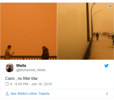 Twitter post by @Mohamed_Wells: Cairo , no filter btw.
