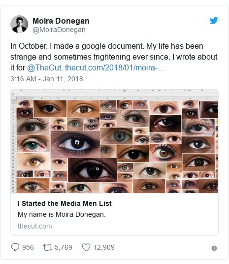 Twitter post by @MoiraDonegan: In October, I made a google document. My life has been strange and sometimes frightening ever since. I wrote about it for @TheCut.