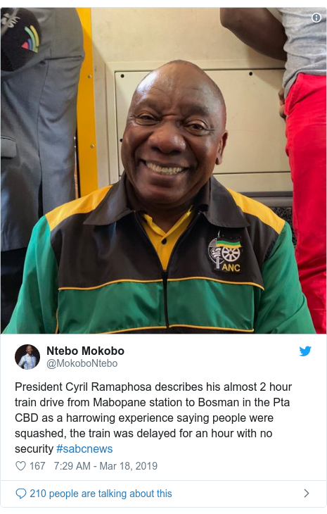 Twitter post by @MokoboNtebo: President Cyril Ramaphosa describes his almost 2 hour train drive from Mabopane station to Bosman in the Pta CBD as a harrowing experience saying people were squashed, the train was delayed for an hour with no security #sabcnews