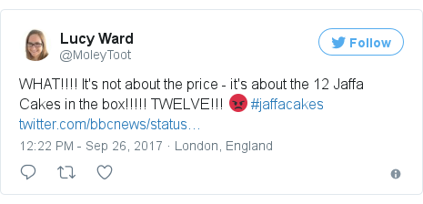 Twitter post by @MoleyToot: WHAT!!!! It's not about the price - it's about the 12 Jaffa Cakes in the box!!!!! TWELVE!!! 😡 #jaffacakes https //t.co/xjRo294LRg