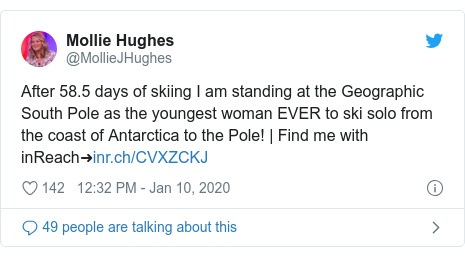Twitter post by @MollieJHughes: After 58.5 days of skiing I am standing at the Geographic South Pole as the youngest woman EVER to ski solo from the coast of Antarctica to the Pole! | Find me with inReach➜