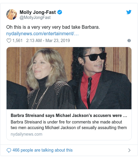 Twitter post by @MollyJongFast: Oh this is a very very very bad take Barbara.