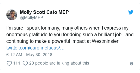 Twitter post by @MollyMEP: I'm sure I speak for many, many others when I express my enormous gratitude to you for doing such a brilliant job - and continuing to make a powerful impact at Westminster