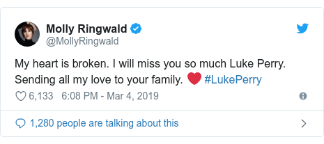 Twitter post by @MollyRingwald: My heart is broken. I will miss you so much Luke Perry.  Sending all my love to your family. ❤️ #LukePerry
