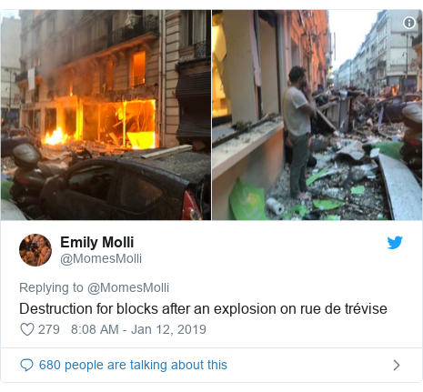 Twitter post by @MomesMolli: Destruction for blocks after an explosion on rue de trévise