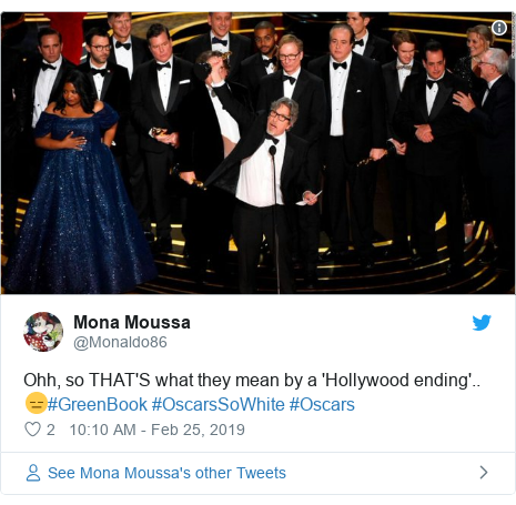 Twitter post by @Monaldo86: Ohh, so THAT'S what they mean by a 'Hollywood ending'.. 😑#GreenBook #OscarsSoWhite #Oscars