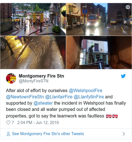Twitter post by @MontyFireSTN: After alot of effort by ourselves @WelshpoolFire @NewtownFireStn @LlanfairFire @LlanfyllinFire and supported by @stwater the incident in Welshpool has finally been closed and all water pumped out of affected properties, got to say the teamwork was faultless 🚒🚒