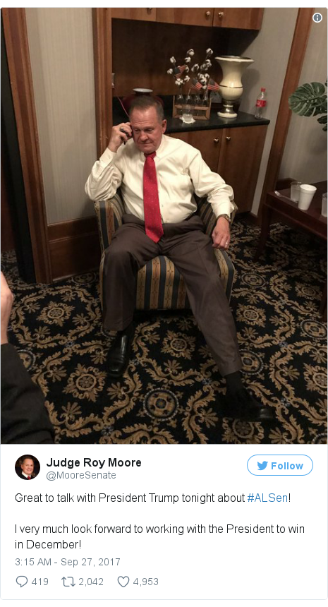 Twitter post by @MooreSenate: Great to talk with President Trump tonight about #ALSen!I very much look forward to working with the President to win in December! pic.twitter.com/A72Fdc6Mua