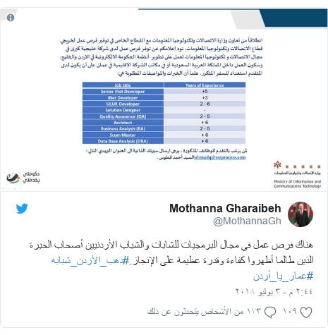 تويتر رسالة بعث بها @MothannaGh: هناك فرص عمل في مجال البرمجيات للشابات والشباب الأردنيين أصحاب الخبرة الذين طالما أظهروا كفاءة وقدرة عظيمة على الإنجاز.#ذهب_الأردن_شبابه #عمار_يا_أردن