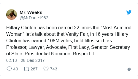 "Twitter pesan oleh @MrDane1982: Hillary Clinton has been named 22 times the ""Most Admired Woman"" let's talk about that Vanity Fair, in 16 years Hillary Clinton has earned 108M votes, held titles such as Professor, Lawyer, Advocate, First Lady, Senator, Secretary of State, Presidential Nominee. Respect it."