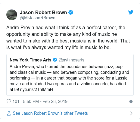 Twitter post by @MrJasonRBrown: André Previn had what I think of as a perfect career, the opportunity and ability to make any kind of music he wanted to make with the best musicians in the world. That is what I've always wanted my life in music to be.