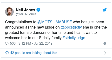 Twitter post by @Mr_NJones: Congratulations to @MOTSI_MABUSE who has just been announced as the new judge on @bbcstrictly she is one the greatest female dancers of her time and I can't wait to welcome her to our Strictly family #strictlyjudge