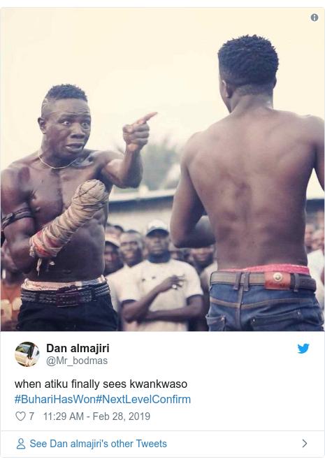 Twitter post by @Mr_bodmas: when atiku finally sees kwankwaso #BuhariHasWon#NextLevelConfirm