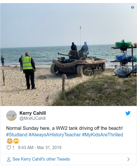 Twitter post by @MrsKJCahill: Normal Sunday here, a WW2 tank driving off the beach! #Studland #AlwaysAHistoryTeacher #MyKidsAreThrilled 😳🙄