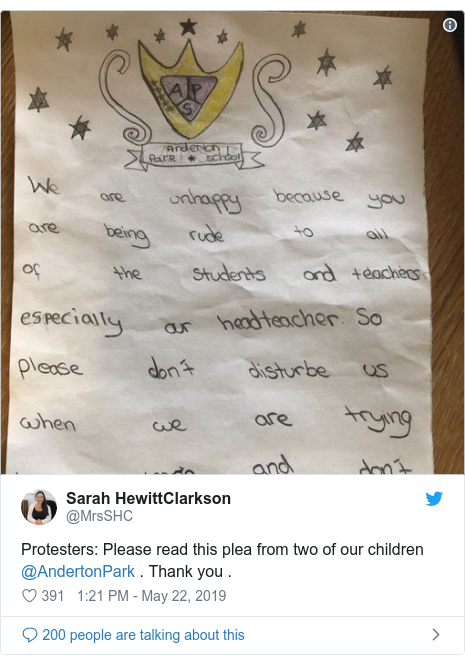 Twitter post by @MrsSHC: Protesters  Please read this plea from two of our children @AndertonPark . Thank you .