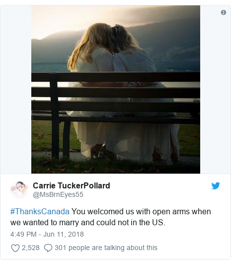 Twitter post by @MsBrnEyes55: #ThanksCanada You welcomed us with open arms when we wanted to marry and could not in the US.