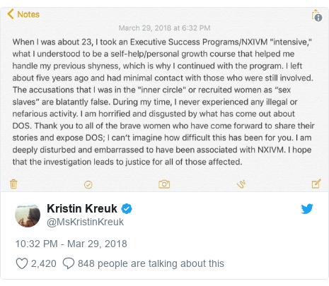 Twitter post by @MsKristinKreuk: