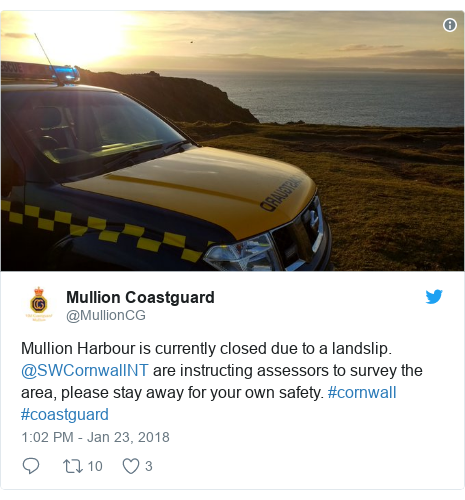 Twitter post by @MullionCG: Mullion Harbour is currently closed due to a landslip. @SWCornwallNT are instructing assessors to survey the area, please stay away for your own safety. #cornwall #coastguard