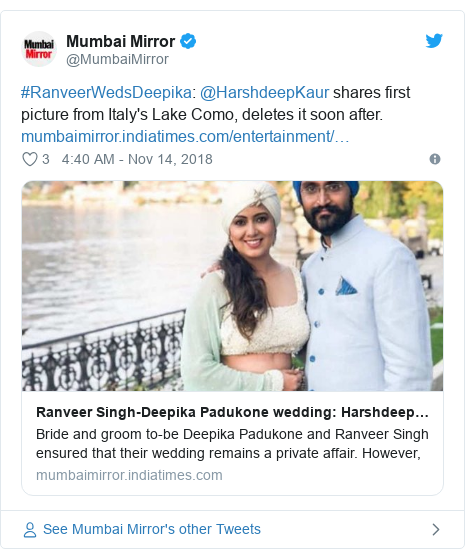 Twitter post by @MumbaiMirror: #RanveerWedsDeepika  @HarshdeepKaur shares first picture from Italy's Lake Como, deletes it soon after.