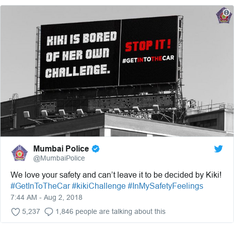 Twitter post by @MumbaiPolice: We love your safety and can't leave it to be decided by Kiki! #GetInToTheCar #kikiChallenge #InMySafetyFeelings