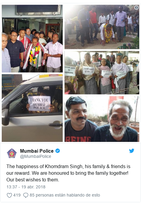 Publicación de Twitter por @MumbaiPolice: The happiness of Khomdram Singh, his family & friends is our reward. We are honoured to bring the family together! Our best wishes to them.