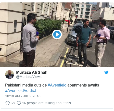 Twitter post by @MurtazaViews: Pakistani media outside #Avenfield apartments awaits #AvenfieldVerdict